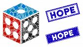 Mosaic Dice Pictogram And Rectangular Hope Seal Stamps. Flat Vector Dice Mosaic Icon Of Random Rotat poster