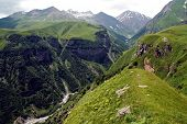 Famous Georgian Military Highway, Caucasus Mountains, Border Between Georgia And Russia