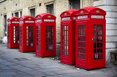 Row Of Red Phone Boxes