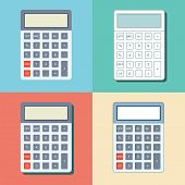 Shcool Calculator Icon In Flat Style Isolated On A Colored Background. Vector Electronic Portable Ca poster