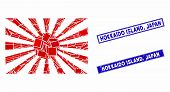 Mosaic Japanese Rising Sun Icon And Rectangular Hokkaido Island, Japan Watermarks. Flat Vector Japan poster