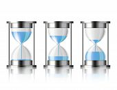 Water falling in the hourglass.