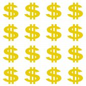 Gold colored dollar sign pattern