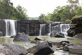 Waterfall  and stone.