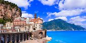 Italian summer holidays - beautiful Amalfi coast, scenic Atrani village, Campania, Italy poster