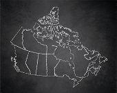 Canada Map Administrative Division, Separates Regions, Individual Region, Design Card Blackboard Cha poster