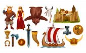 Scandinavian History And Viking Culture Vector Cartoon Icons. Ancient Medieval Scandinavian Viking W poster