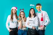 Business People Celebrating New Year Party And Christmas Celebration. Office Christmas Party. Group  poster