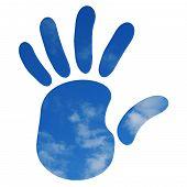 Handprint Over Blue Sky