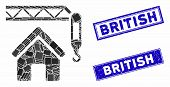 Mosaic Home Construction Icon And Rectangular British Seal Stamps. Flat Vector Home Construction Mos poster