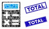 Mosaic Calculator Pictogram And Rectangle Total Rubber Prints. Flat Vector Calculator Mosaic Pictogr poster