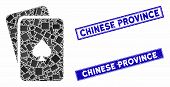 Mosaic Peaks Playing Cards Icon And Rectangular Chinese Province Seal Stamps. Flat Vector Peaks Play poster