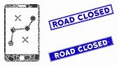 Mosaic Mobile Navigation Route Icon And Rectangle Road Closed Rubber Prints. Flat Vector Mobile Navi poster