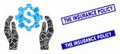Mosaic Financial Insurance Options Pictogram And Rectangular The Insurance Policy Rubber Prints. Fla poster