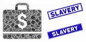 Mosaic Accounting Icon And Rectangular Slavery Seal Stamps. Flat Vector Accounting Mosaic Icon Of Ra poster