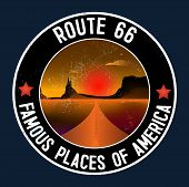 Route 66 And The Grand Canyon Desert Landscape Sticker. Route 66, Roadway With A Pointer, The Horizo poster
