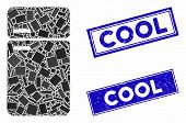 Mosaic Refrigerator Icon And Rectangular Cool Watermarks. Flat Vector Refrigerator Mosaic Icon Of Sc poster