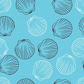 stock photo of shell-fishes  - Seamless hand drawn texture of shells - JPG