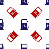 Blue And Red Hydrogen Filling Station Icon Isolated Seamless Pattern On White Background. H2 Station poster