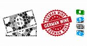 Mosaic Banknotes Icon And Distressed Stamp Seal With German Wine Caption. Mosaic Vector Is Composed  poster