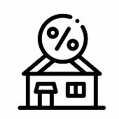 House Borrowed At Interest Credit Icon Vector. Outline House Borrowed At Interest Credit Sign. Isola poster