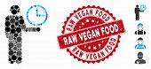 Mosaic Waiter Icon And Rubber Stamp Seal With Raw Vegan Food Caption. Mosaic Vector Is Designed With poster