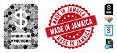 Mosaic Budget Invoice Icon And Rubber Stamp Watermark With Made In Jamaica Phrase. Mosaic Vector Is  poster