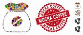 Mosaic Coffee Grain Icon And Grunge Stamp Seal With Mocha Coffee Phrase. Mosaic Vector Is Composed W poster