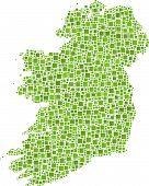 Decorative map of Ireland - Europe -