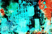 Turquoise Contemporary Abstract Painting Background With Paint Mark, Blot, Stain, Smudge, Smear. Tex poster