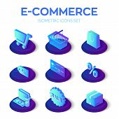 E-commerce Icons Set. Digital Marketing. Online Shopping. 3d Isometric Online Store Icons For Websit poster