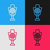 Color Line Human Target Sport For Shooting Icon Isolated On Color Background. Clean Target With Numb poster