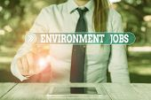Word Writing Text Environment Jobs. Business Concept For Jobs That Contribute To Preserve Or Restore poster