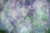 Abstract Floral Wallpaper In Pale Purple And Green