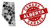 Mosaic Alberta Province Map And Round Seal Stamp. Flat Vector Alberta Province Map Mosaic Of Random  poster
