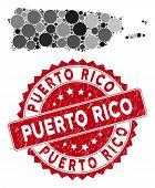 Mosaic Puerto Rico Map And Circle Watermark. Flat Vector Puerto Rico Map Mosaic Of Random Circle Ele poster