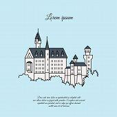 Neuschwanstein Castle Vector Icon. Color Symbol Neuschwanstein Castle. Neuschwanstein Castle Sign. N poster