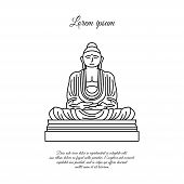 Buddha Statue Line Icon. Linear Style Sign For Mobile Concept And Web Design. Buddha In Meditation P poster