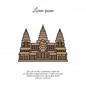 Angkor Wat Vector Icon Isolated On White Background, Angkor Wat Sign, Element Design In Outline Styl poster