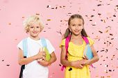 Smiling Schoolchildren With Backpacks Holding Books Near Falling Confetti poster