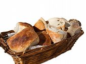 Home made bread filled with olives isolated on white
