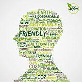 Go Green. Nuvem de palavras sobre a conservação ambiental na cabeça do homem