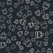 Grey Shoping Bag With An Inscription Sale Icon Isolated Seamless Pattern On Black Background. Handba poster