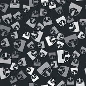 Grey Upload Inbox Icon Isolated Seamless Pattern On Black Background. Extract Files From Archive. Ve poster