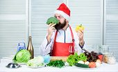 Healthy Christmas Holiday Recipes. How Make Your Christmas Dinner Healthier. Man Bearded Chef Wear S poster