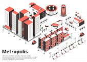 Metropolis Street Isometric Background With Text And Birds Eye View Of Modern City Block With Cars V poster