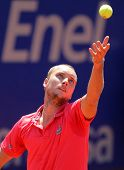 BARCELONA - APRIL, 24: Belgian tennis player Steve Darcis in action during his match against Fernando Verdaso of Barcelona tennis tournament Conde de Godo on April 24, 2012 in Barcelona
