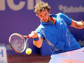 BARCELONA - APRIL, 24: Latvian tennis player Ernests Gulbis in action during his match against Berna