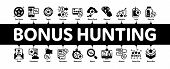 Bonus Hunting Minimal Infographic Web Banner Vector. Magnifier And Bag With Percent Mark, Star, Diam poster
