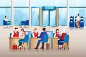 Bank Office Modern Interior. Bank Managers Consult Clients, Approve Loans And Make Financial Transac poster